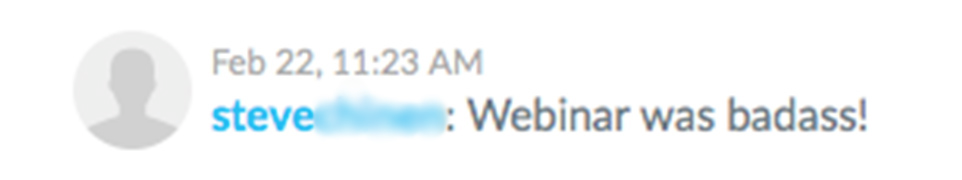 "Screenshot of a comment from the free training: ""Steve Chinen: Webinar was badass!"""